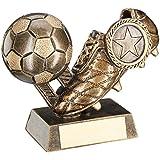 Bronze/Gold Fußball und Boot-Trophy-(2,5cm Mitte) 3,75in-95mm-kostenlose Gravur bis zu 30Buchstaben-jr1-rf302b