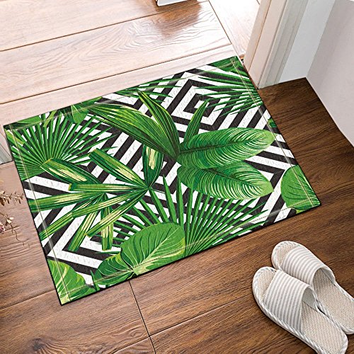 gohebe Jungle Plant Tropical Palm Blättern auf der schwarz weiß Geometrische backgroundbath Teppiche rutschhemmend Boden Eingänge Outdoor Innen vorne Fußmatte 39,9x 59,9cm Badvorleger Badematte Bad Teppiche