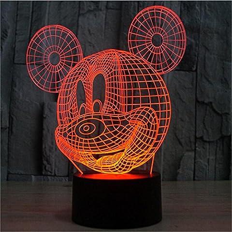 cadeaux créatifs souris 3D Colorful illusion visuelle lampe LED lampe tactile nuit Lampe 3D