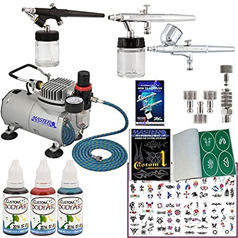 Master Airbrush Tattoo System. 3 Airbrushes, Air Compressor, Deluxe Book of 100 Stencils, 6