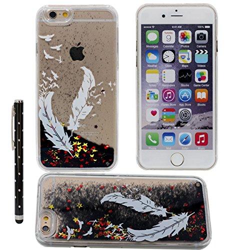 """Case iPhone 6S Plus Liquide Eau Coque, Transparente Dur Étui Protection avec Écoulement Étoiles Poudre noire Désign pour Apple iPhone 6 Plus 5.5"""", tour Eiffel Motif Case Avec 1 stylet color-5"""