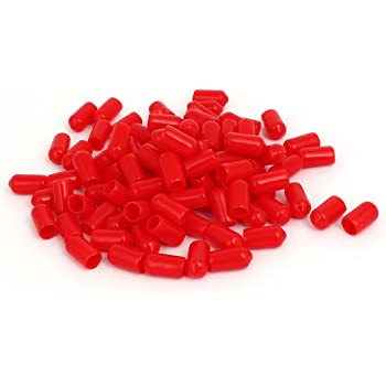 100Stk.7,5mm i.D.Gummi Isolierte Endkappe Schraube Gewinde Beschützer Kappe rot