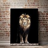 alicefen No Frame Nordic Majestic Lion Noir Affiche Animale Moderne Peintures Décoratives sur Toile Mur Art pour La Maison Décorations Mur Décor 50X70 Cm