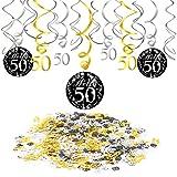 Konsait 50 Anni Compleanno Decorazione, Nero Appeso soffitto Spirale Decorazione (15 conteggi), Buon Compleanno & 50 Tavolo coriandoli (1,05 oz) per Festa di 50 ° Compleanno Decorazioni