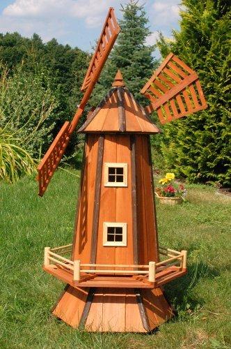 Deko-Shop-Hannusch Grand moulin à vent décoratif en bois enduit avec roulement à billes 1,3 m
