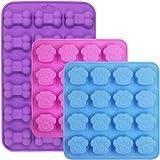 3 pièces en forme de pattes et os Moules en silicone, FineGood Chocolate Candy Fabrication de savons plateaux, 18 Mini Savari