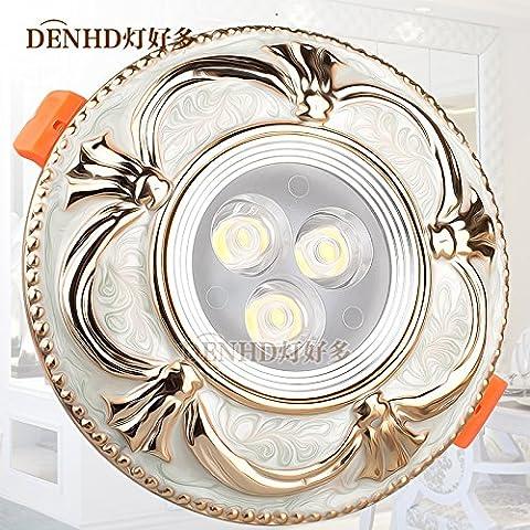La via della luce faretti LED continentale semplice 5W faretto a LED da incasso a soffitto americano di luce Luce fori da soffitto,bianco