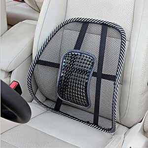 Generic Car Seat Back Cushion Mesh Ventilate Brace Support Pad Office Home Chair Lumbar Massager Pain Relief Cool Beads massage