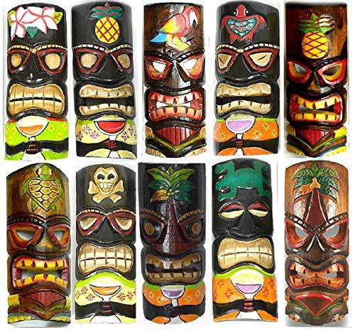 Set von 10handgeschnitzt Polynesische Hawaiian Tiki Stil Masken 12in Hoch
