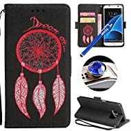 Etsue Samsung Galaxy S7 Leather Case, Samsung Galaxy S7 Wallet Case, Cute Flower Feather Dreamcatcher Embossing Retro Flip Case Cover with Strap Bookstyle Leather Wallet Case for Samsung Galaxy S7+Blue Stylus Pen+Bling Glitter Diamond Dust Plug(Colors Random)-Dreamcatcher,Black
