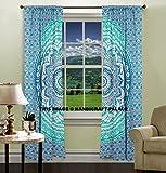 OMBRE Mandala Tapisserie indischen Vorhang Fenster Drapes Volants 2Platten-Set, Überwurf Tüll Baumwolle Tür Fenster Vorhang Tuch Panel Vorhänge von handicraft-palace