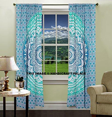 Set de 2 cortinas con cenefas para ventana, diseño de Mandala, de Handicraft-Palace