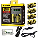 Bundle: NiteCore IntelliCharger i4-2016 version w/4x NL166 Batteries +Car & Wall Adaptors