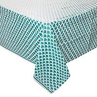 Unique Party  37203  - Teal & White Scallop Print Plastic Tablecloth, 9ft x 4.5ft