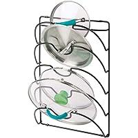 mDesign porte couvercle vertical en métal – support ustensiles cuisine pratique pour couvercles de casserole et poêle…