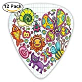 Flora And Fauna Themed Heart Animals Birds And Plants Bumblebee Ladybug Leafs Cat Guitar Picks 12/Pack