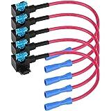 Keenso Auto Voeg Een Circuit Zekering Tap, Auto Zekering Adapter Blade Zekeringhouder met 15A Blade Zekering Pack van 5 (Micr
