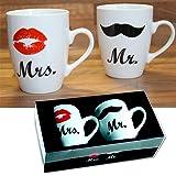 Brubaker Becher Mr & Mrs aus Porzellan und Glückwunschkarte in Geschenkpackung Hochzeit