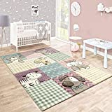 Paco Home Kinderteppich Kinderzimmer Konturenschnitt Lustige Tiere Bunt Pastellfarben, Grösse:160x230 cm