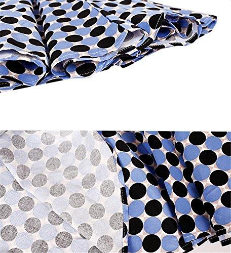 Robe de la mode féminine rétro bleu et noir point de vague du col de mot pose jupe de plage s