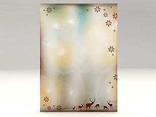 Weihnachtliches Motivpapier Rentiere, A4, 20 Blatt Briefpapier mit Motiv