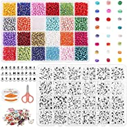 Tiokkss Bead Kits for Bracelet Making, 5200 Pcs 4mm Small Pony Seed Beads for Jewelry Supplies with Alphabet L