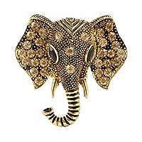 Aivtalk Crystal Brooch for Women Gold Elephant Broach Charming Breastpin Wedding Clothing Accessories Girls