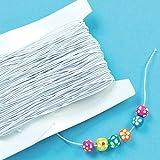 Weißes Gummiband - für Kinder zum Basteln für Perlenkunst und Schmuck - Spule mit 30 m