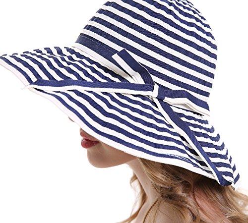 fe05f7e3633912 MEEFUR Womens Summer Lightweight Sun Hats Breathable Fabric UPF 50+ Beach  Hat Stripes Foldable Wide