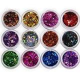 Nagelkunst-Set von San Bodhi®, 12-teilig, Pailletten aus Acryl mit 3D-Effekt, diamantförmiger Glitzer, mit Pulver.
