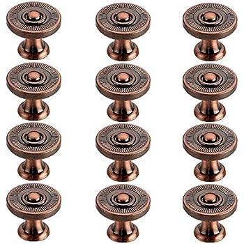 copper door knobs. retro knob, itechor 12pcs knob cupboard cabinet drawer wardrobe vintage door knobs pull handles - red copper