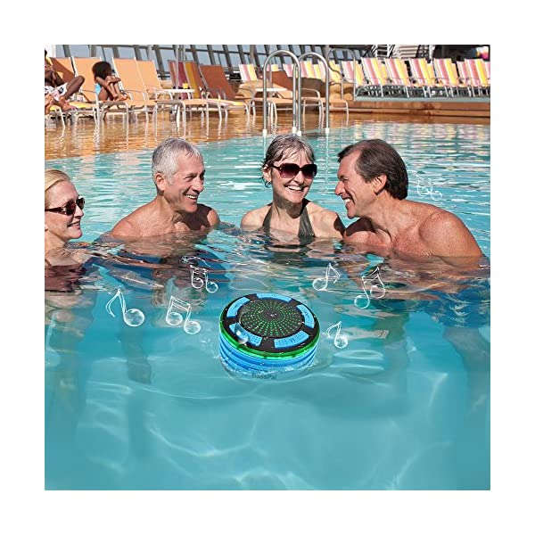 BassPal Shower Speaker, IPX7 Waterproof Portable Wireless Bluetooth 4.0 Speakers with Super Bass and HD Sound, Perfect Speaker for Beach, Pool, Kitchen & Home 6