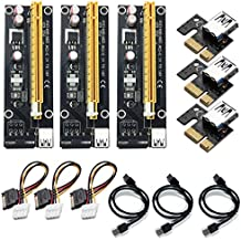4 Pin PCI-e 1X à 16X Enhanced Powered Riser Carte Adaptateur et USB 3,0 Extension Cable, 4 à SATA Power Cable, GPU Riser Adapter, Adapté Pour GPU Graphic Card Express Ethereum Mining ETH (3 Pièces)