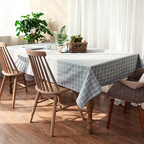 Mantel de lino rectangular 140 x 220cm, enrejado gris antideslizante de poliéster mantel de algodón de moda simple cubierta de mesa para cualquier partido por HLYOON