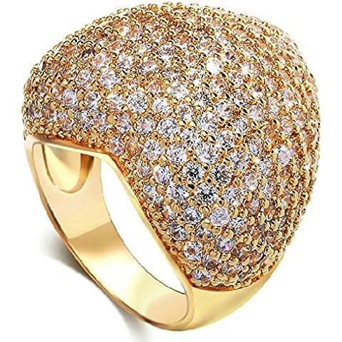 Anelli Di Fidanzamento Donna Placcato Oro Cz Studded Cuore Formato Del Taglio 19.5 Per (22k Oro Cuore)