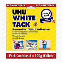 UHU White Tack - Economy Pack - Contains 6 x 100g Wallets