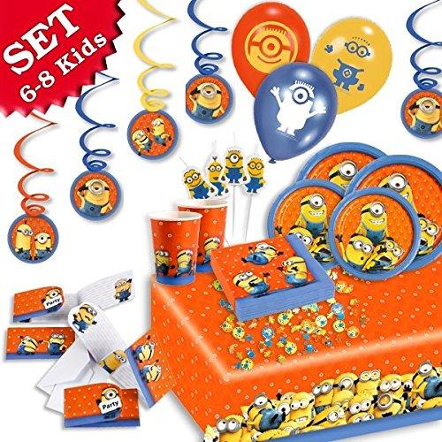 ag-Deko-Set, 68-teilig zum Kindergeburtstag für Jungen und Mädchen und MINION Motto-Party für 6-8 Kids (Mädchen Minion Geburtstag Party)