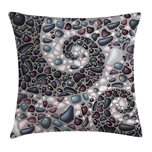 Yinorz Nature Throw Pillow Cushion Cover, Garden Mountains Volcanic Stones Image of Pebbles on Cement Print, Decorative Square Accent Pillow Case, 18 X18 Inches, Slate Blue Black and Dimgrey - Knit Black Slate