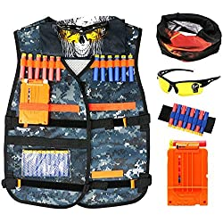 Tacobear Veste Tactique Elite Set Gilet Tactique pour Enfants Nerf N-Strike Elite Séries (Inclus Gilet Tactique+Bracelet+Chargeur+unettes de Protection+2 Masque)