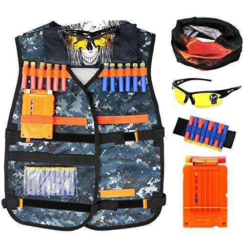 Tacobear Gilet Tattico per Bambini Kit di Giubbotto Tattico per Nerf N-Strike, Maschera viso e occhiali clip di ricarica rapida della clip Cinturino da polso