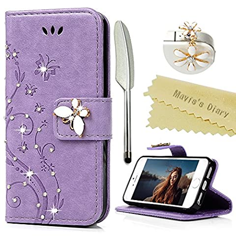 iPhone SE Case , iPhone 5S Case , iPhone 5 Case, Mavis's Diary Bling Sparkly Diamonds PU Leather Wallet Flip Case with Detachable Hand Strip [Butterfly & Flowers Embossing] for iPhone SE &iPhone 5S & iPhone 5 + 1 × White Flower Dust Plug + 1 × Silver Stylus Pen -