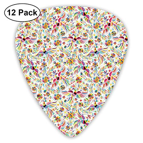 Guitar Picks - Abstract Art Colorful Designs,Colorful Nature Inspired Ethnic Pattern Birds Flowers Leaves And Dots Creativity,Unique Guitar Gift,For Bass Electric & Acoustic Guitars-12 Pack -