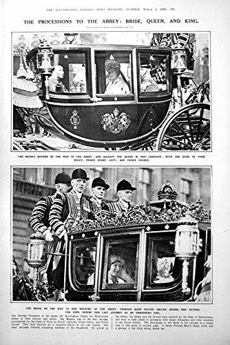 Original old antique victorian print Drucken Sie Prozession Hochzeits-Geschenken zu den Abtei-Braut-König-Queen 1922 279P260