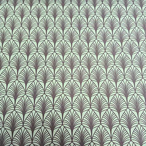 (Werthers Stoffe Stoff Meterware Baumwolle Beschichtet grün Grau Blätter Mint Tischdeckenstoff abwaschbar)