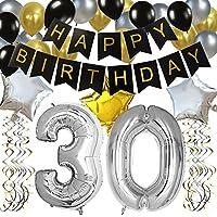 """KUNGYO Clásico Decoración de Cumpleaños -""""Happy Birthday"""" Bandera Negro;Número 30 Globo;Balloon de Látex&Estrella, Colgando Remolinos-Perfectas del Partido Para el Cumpleaños de 30 Años"""