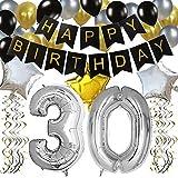 KUNGYO Classy Zum 30. Geburtstag Party Dekorationen Satz- Schwarz Happy Birthday Banner,FolienBallon Zahl 30 in Silber-XXL Riesenzahl 100cm, Star & Latex Ballon,Hängende Wirbel,Perfekt Alles Gute Zum Geburtstag Zubehör Für 30 Jahre Alt.