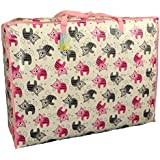 Extra Large storage bag 115 litres. Kittens pattern in Pink and grey. Toys, washing and laundry bag