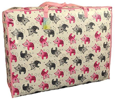 Extragrosse Aufbewahrungstasche 115 Liter. Rosa und grauen Kätzchen Muster. Spielzeug, Waschen und Wäschesack -