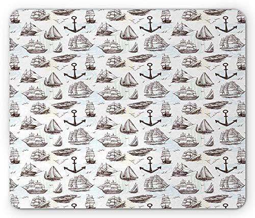 Ship Mouse Pad, Vintage Sea Transportation Hand Drawn Ships Frigates Brigantine Clipper Yachts Birds, Standard Size Rectangle Non-Slip Rubber Mousepad, Brown White Standard-clipper