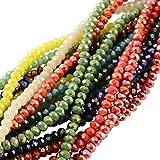 PandaHall 1500PCS Perline vetro Colorate Giada Imitazione Sfaccettate Placcate per braccialetti collane gioielli, Abaco, AB Colore Misto, 3.5~4x2.5~3mm; Foro: 0.5mm, Circa 150pcs/ Filo, 10 Fili